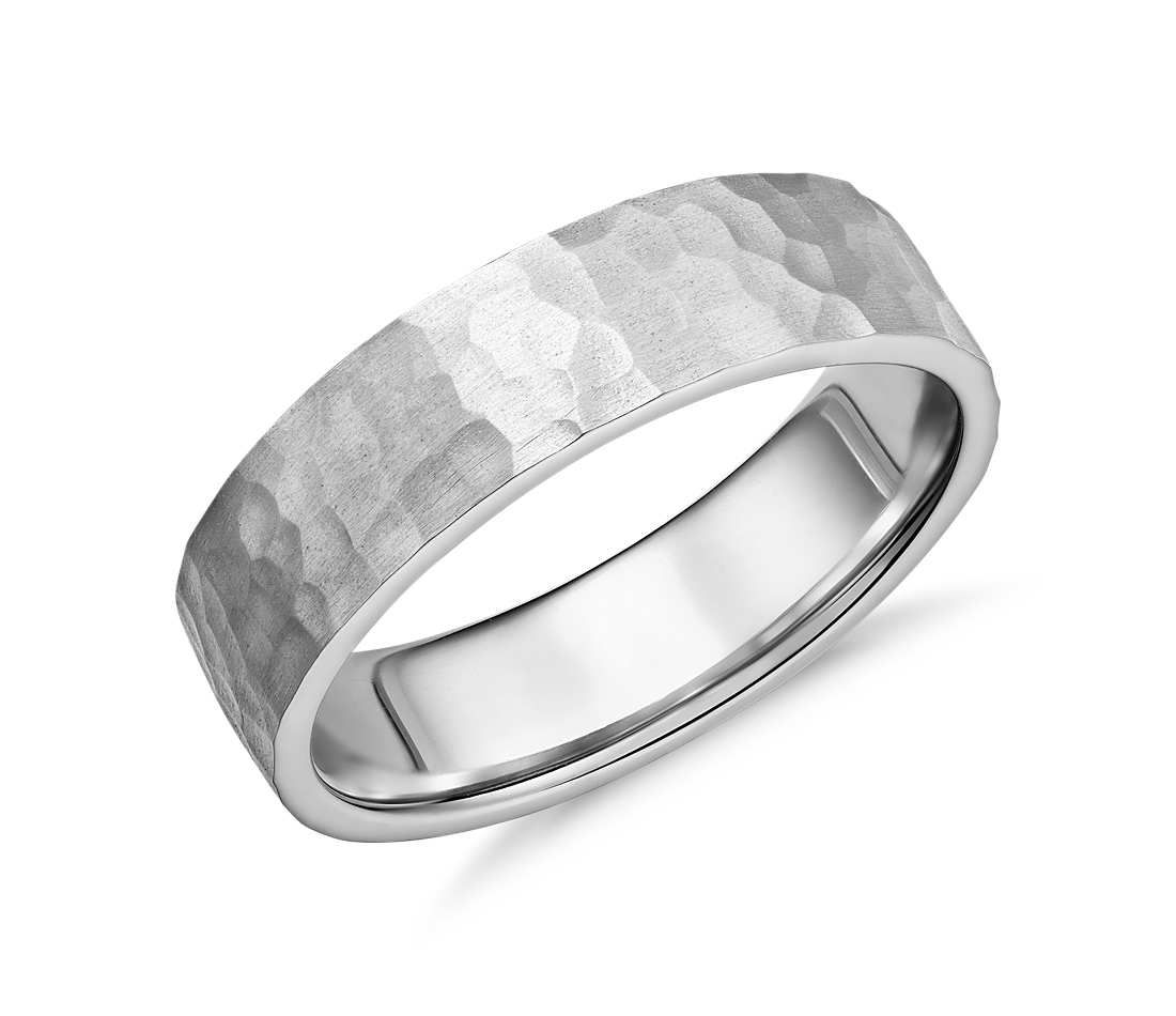 Matte Hammered Flat Comfort Fit Wedding Ring In Platinum 6mm