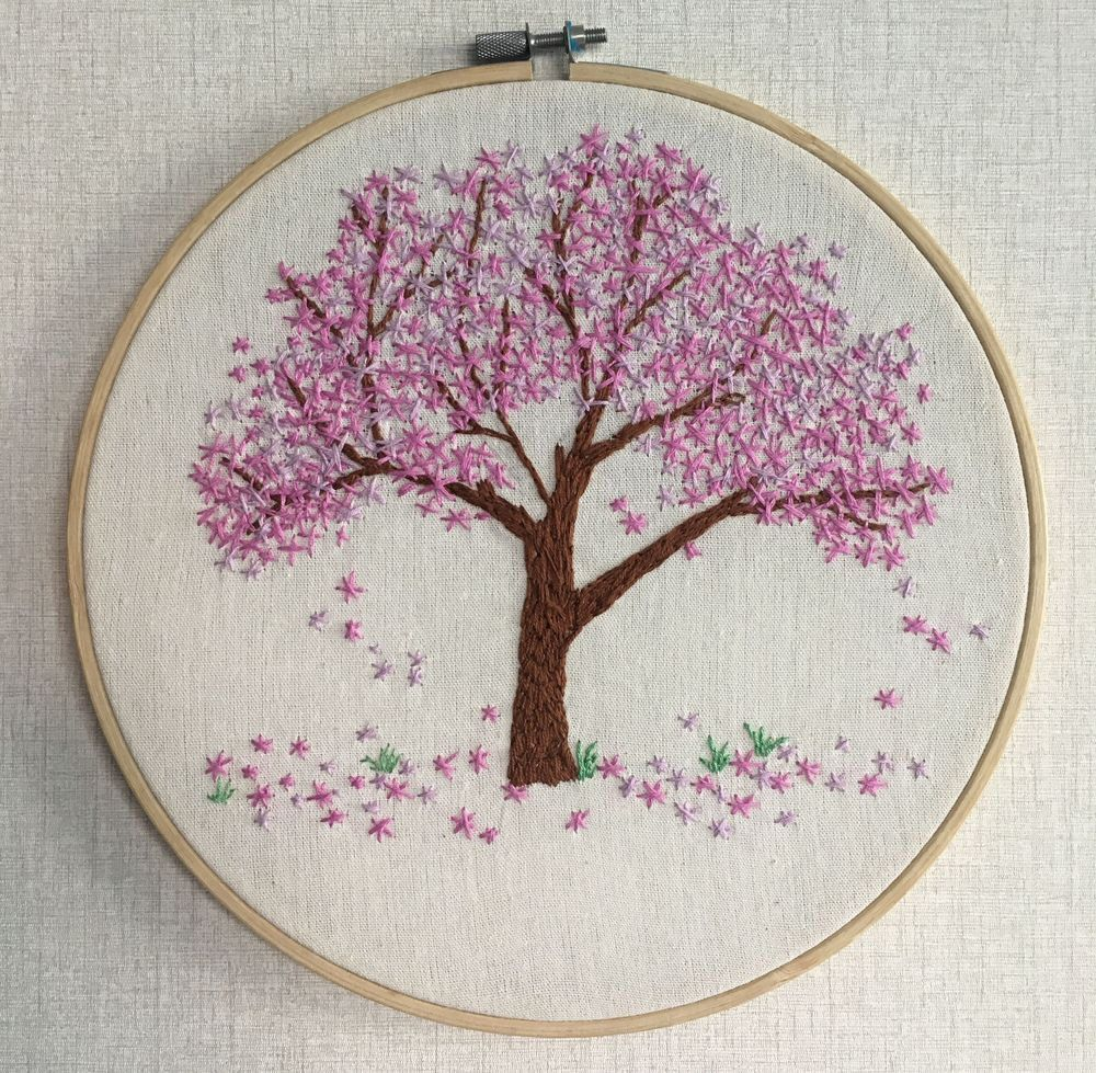 Pink Flower Tree Cherry Blossom Hand Embroidery Hoop Wall Art Wall Hanging Embroidery Hoop Wall Art Embroidery Hoop Wall Hand Embroidery Art