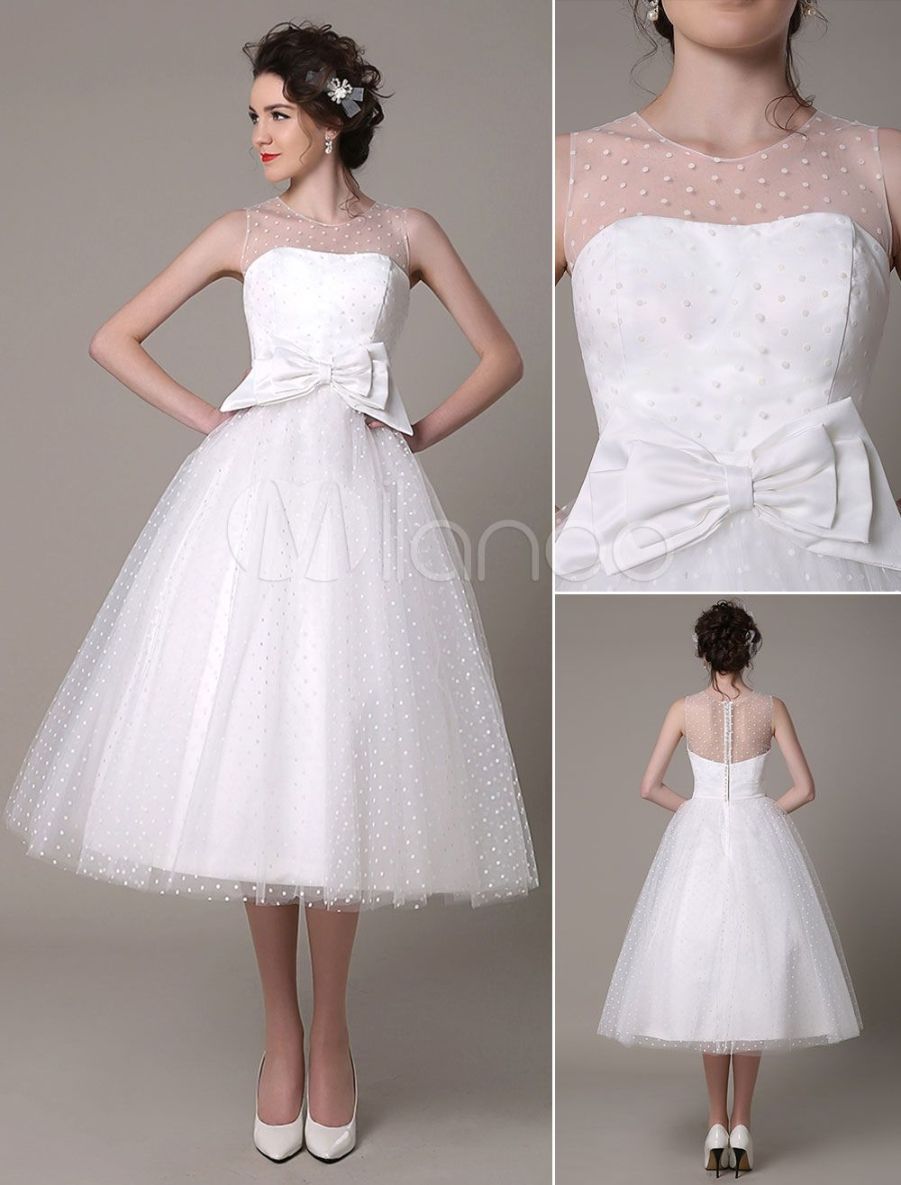 Tulle Wedding Dress Strapless A-Line Tea Length Bridal Dress With ...