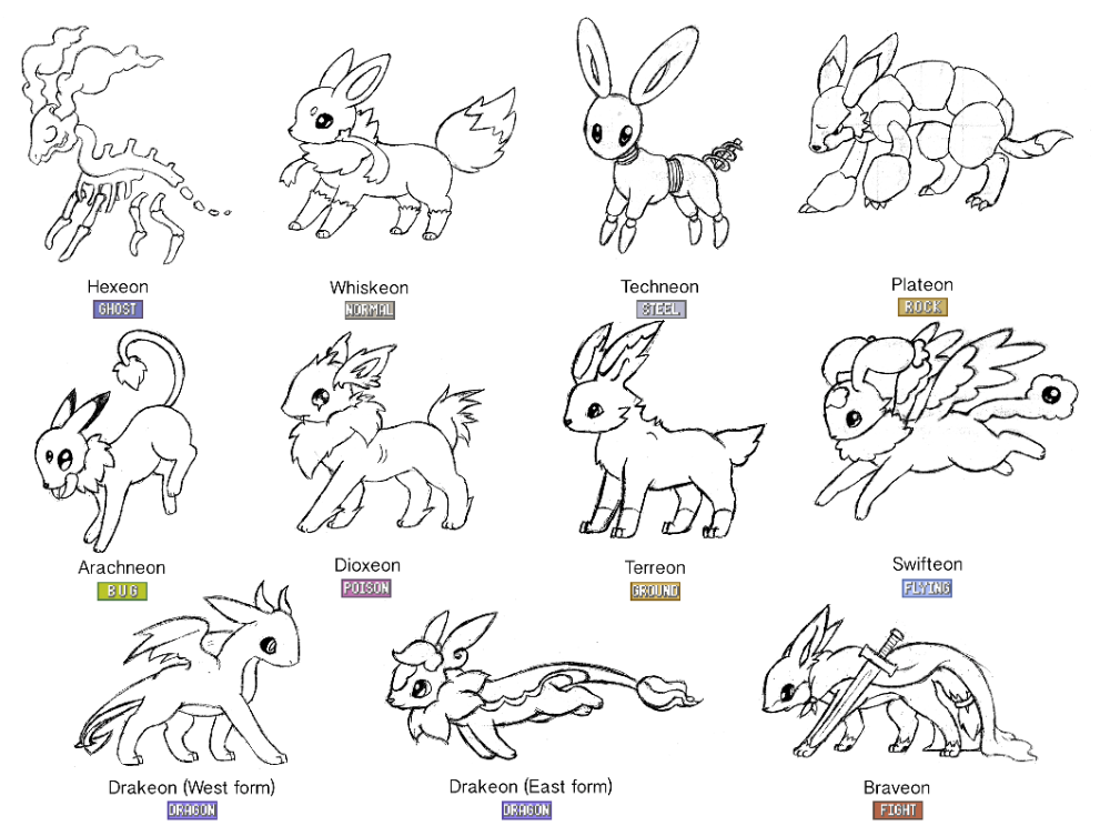 8c30ef642b112c5c26e221fab691be5f » Eeveelutions Coloring Page