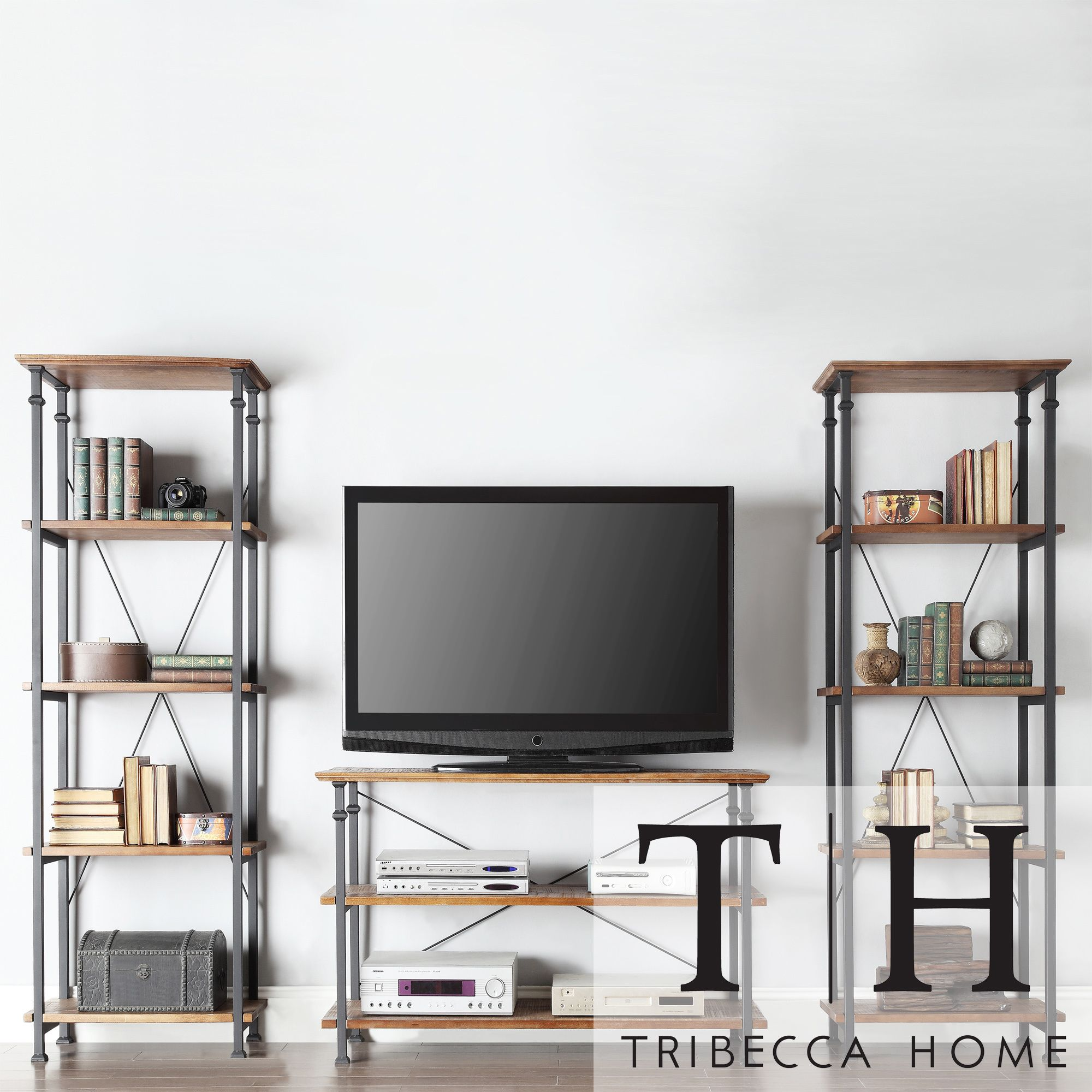 Myra Vintage Industrial Modern Rustic 3-piece TV Stand Set by iNSPIRE Q  Classic by iNSPIRE Q