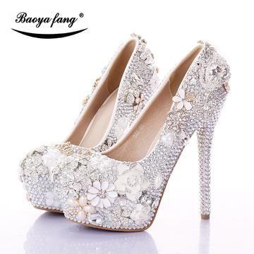 BaoYaFang Silver/Pink Swan Womens Wedding shoes Bride 12cm/14cm High heels platform shoes fem...
