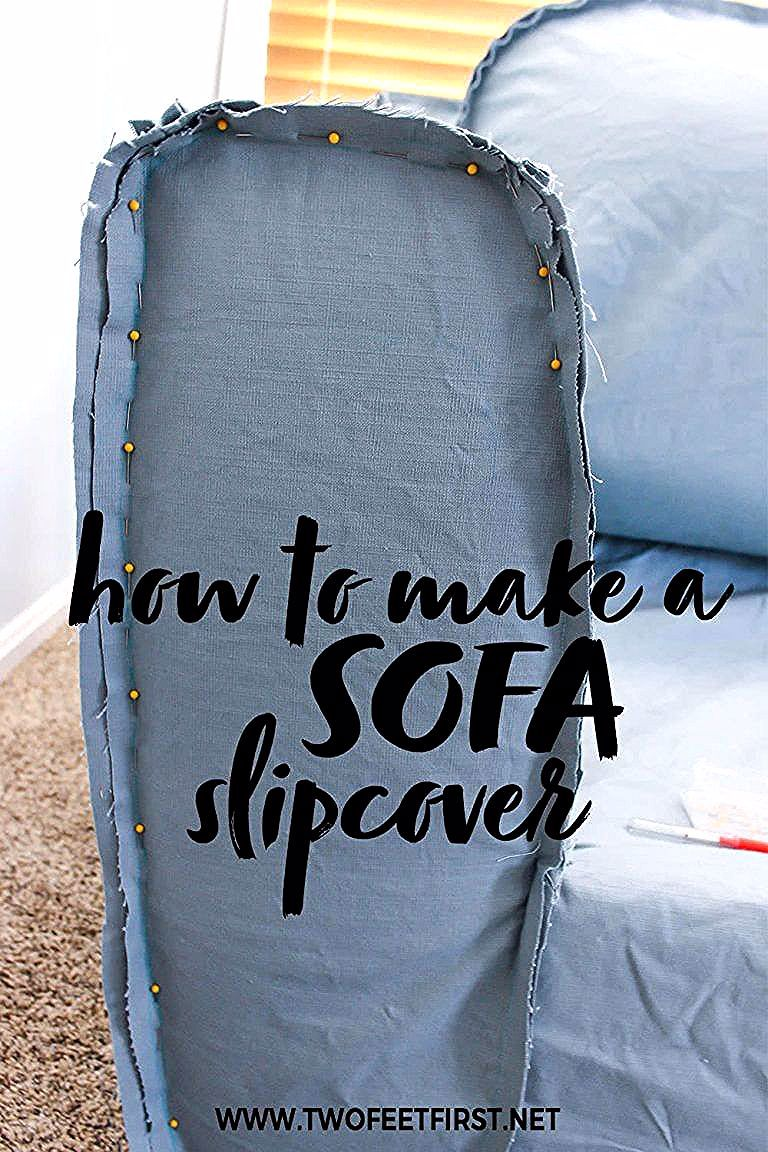 Are you wondering how to make a sofa slipcover? Update that old dated couch DIY style! Here is a tutorial with pictures to walk you through the process of creating a custom sofa slipcover for your couch. #diy #sofa
