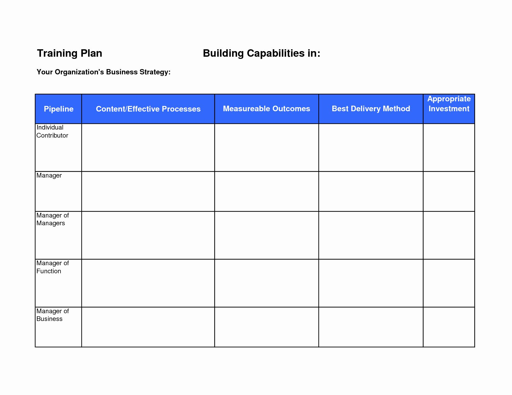 Employee Training Plan Template Luxury Training Plan