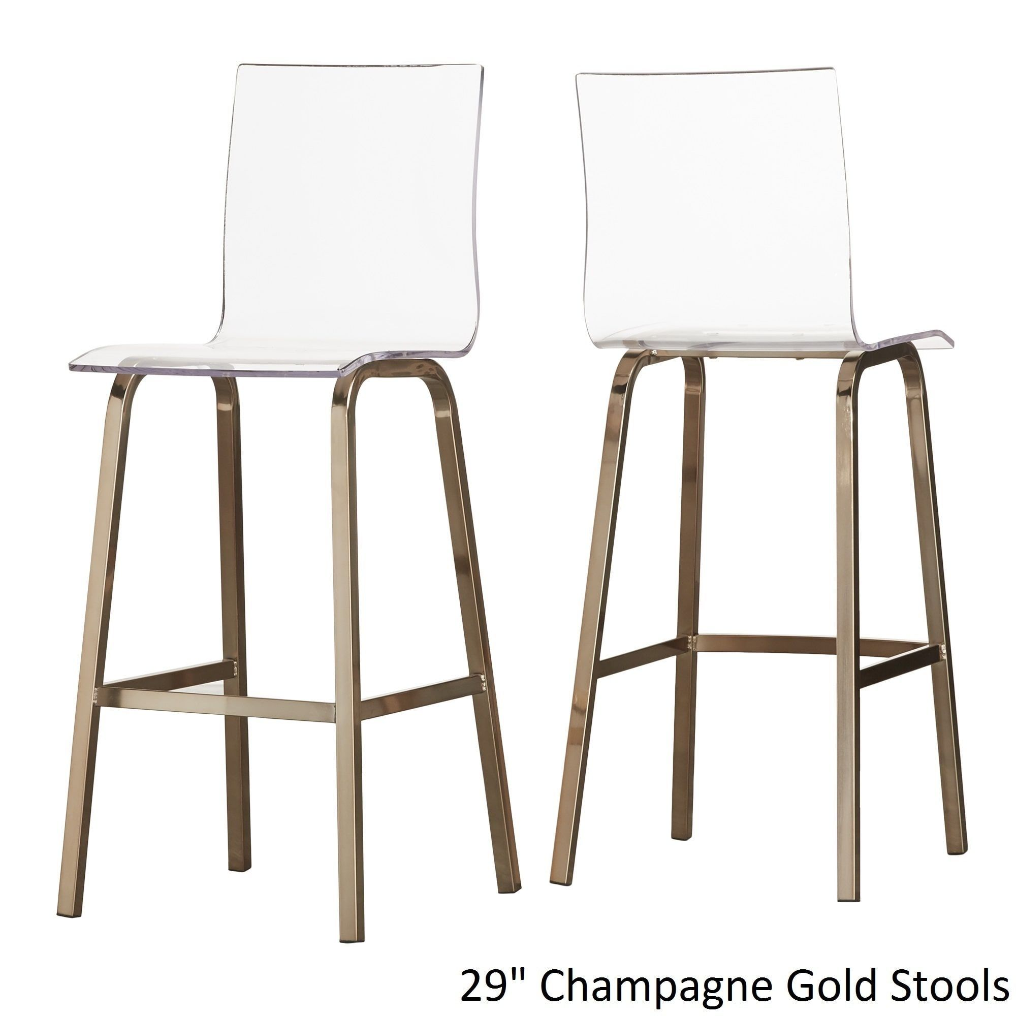 Miles Clear Acrylic Swivel High Back Bar Stools with Back by Inspire Q