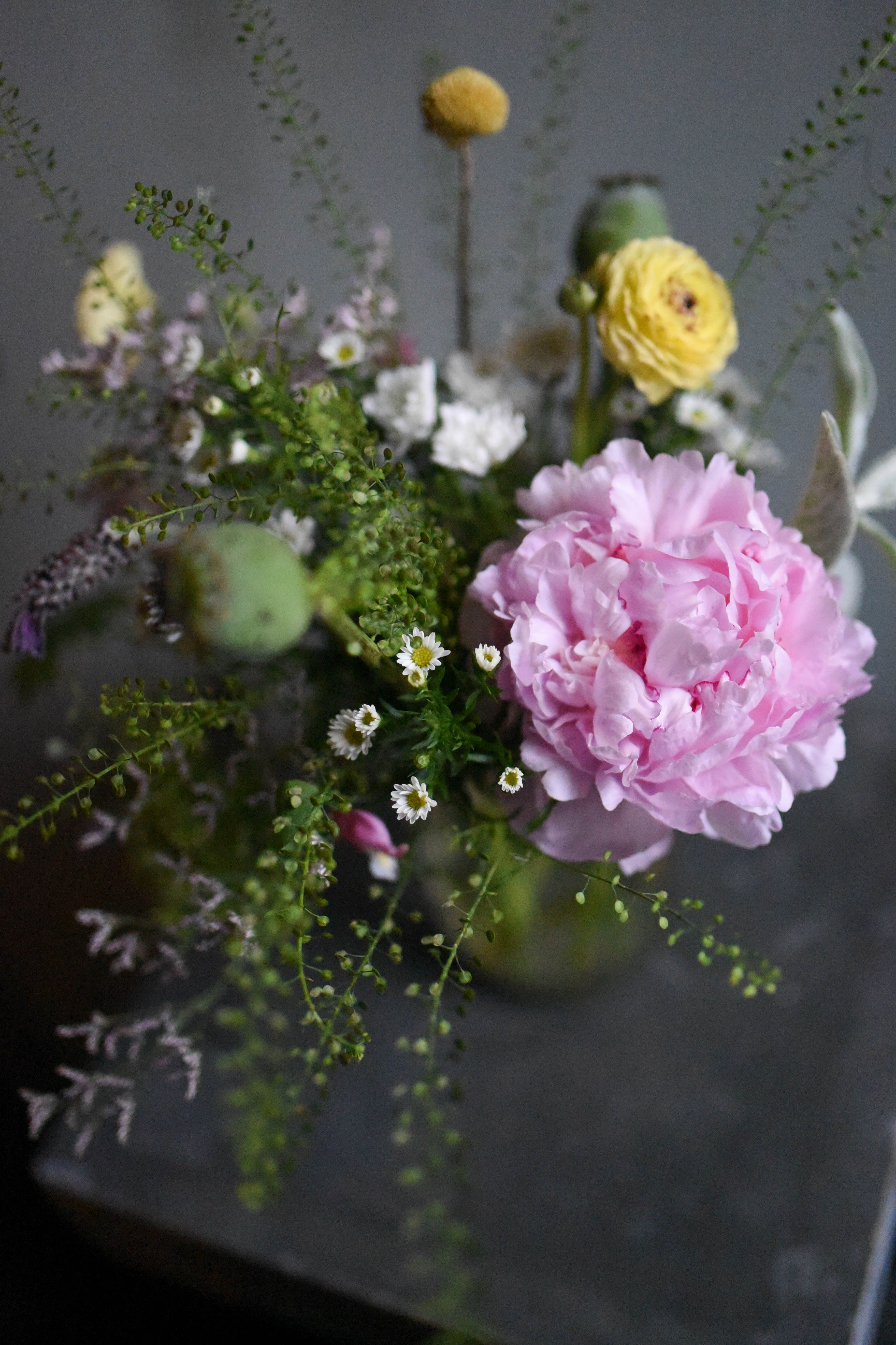 Summer Lush And Overflowing Centerpiece In Jar Filled With Wild And
