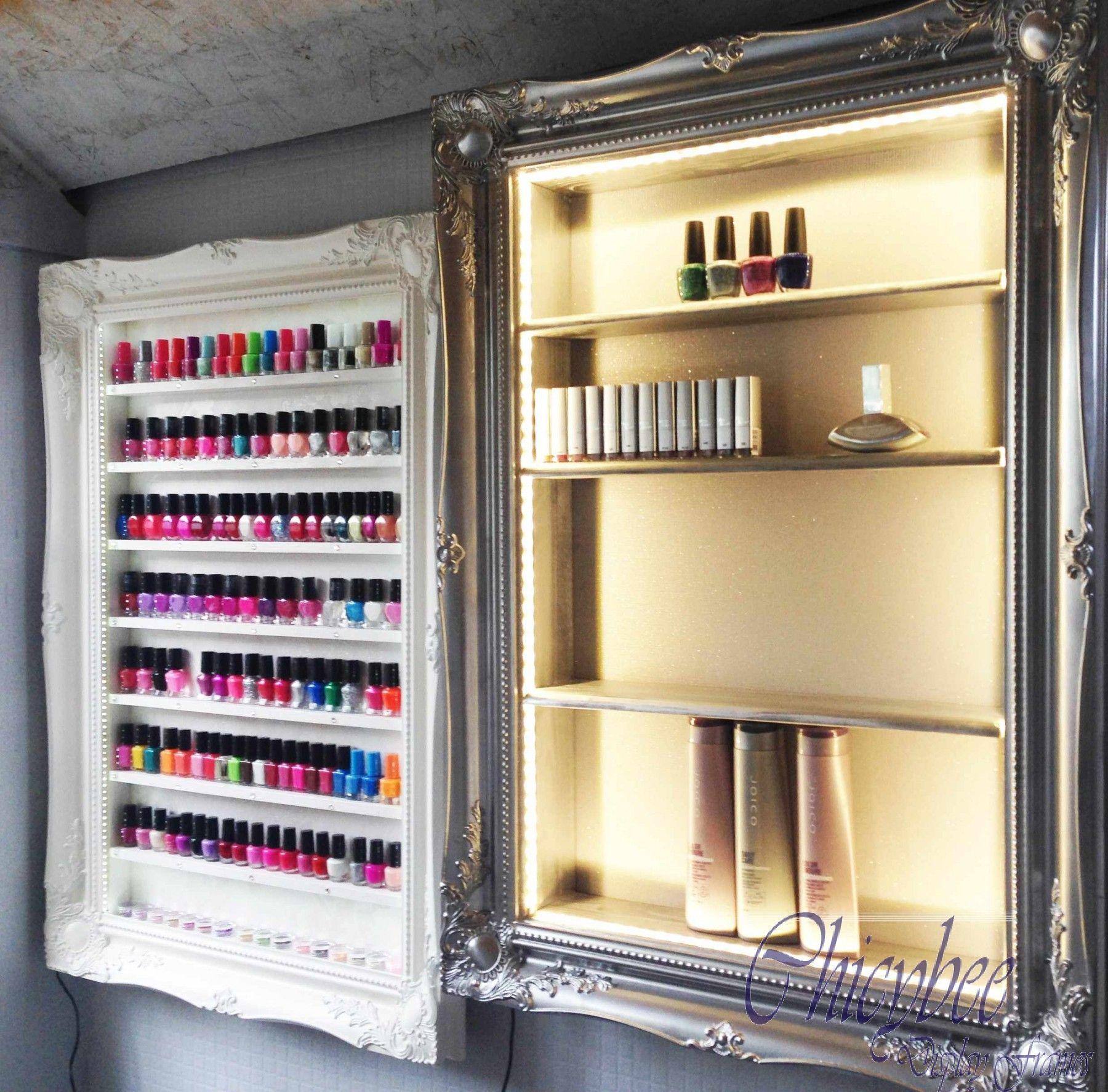 Beauty Display Cabinet LED Illuminated Silver Chrome Beauty Retail Shelf shop…