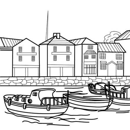 Coloriage bateaux petit port de p che coloring ship - Coloriage petit bateau imprimer ...