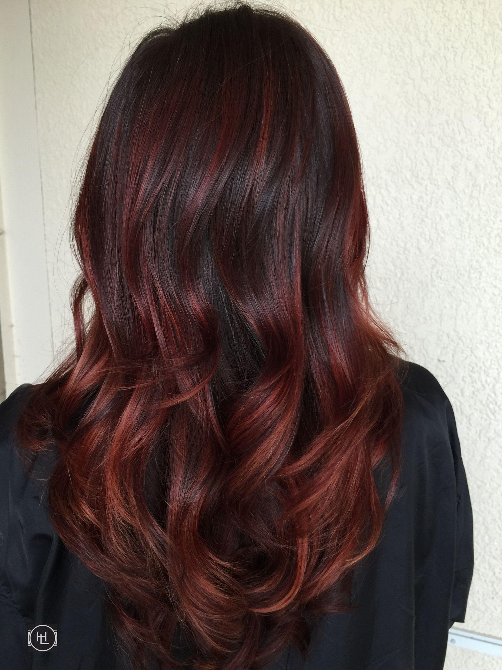 Red balayage hair flair pinterest cabello peinados for Balayage braun caramel