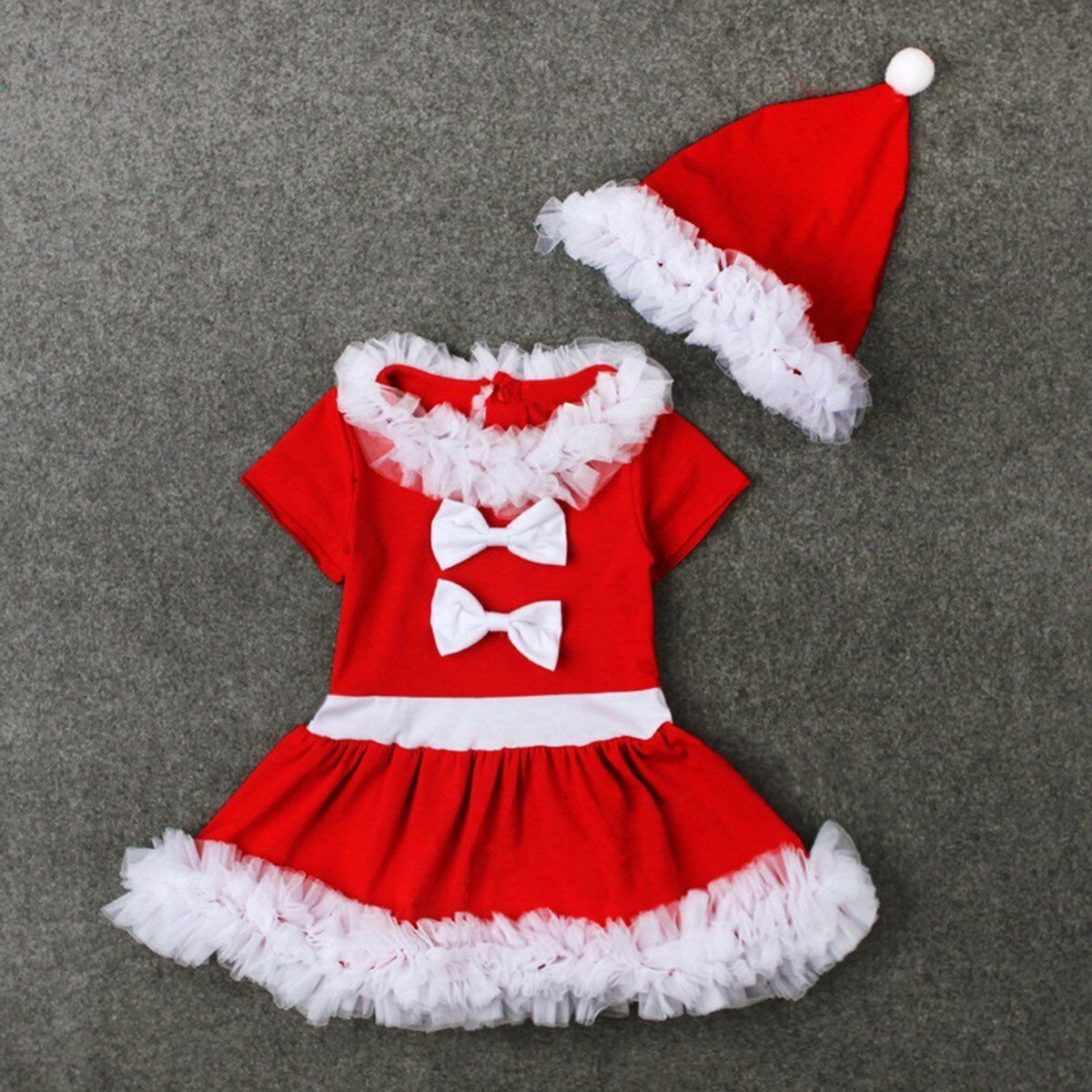 Baby Girl Christmas Dress Clothes Costume Bowknot Party Dresses+Hat 2Pcs Outfit