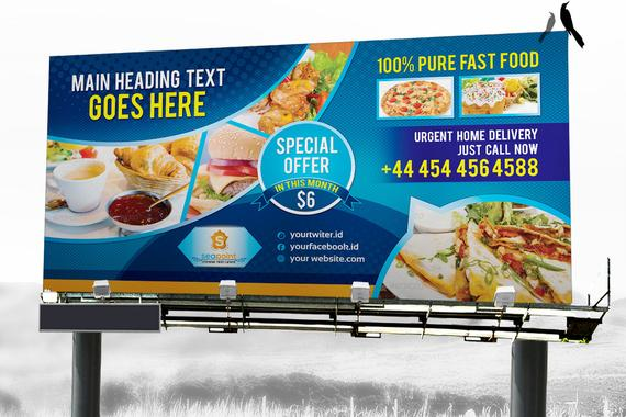 Items similar to Fast Food Billboard and Rollup Banner Template | Digital Signage Design Template | Digital File | Instant Download on Etsy