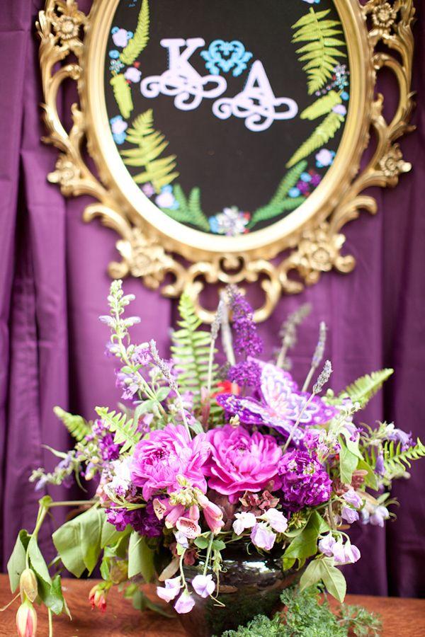 bridal shower ideas Midsummer Nights dream Bridal Shower www.poshshoppeflorist.com Posh Shoppe Florist purple gold garden shower
