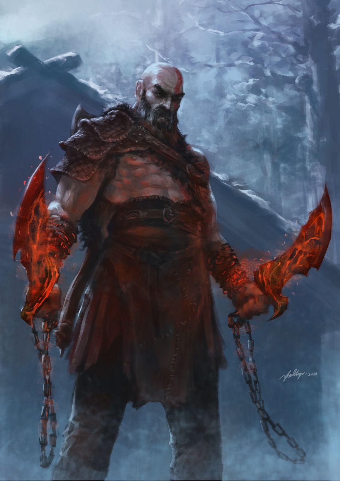 Hello Old Friend Fadly Romdhani On Artstation At Https Www Artstation Com Artwork Brovk God Of War Kratos God Of War God Of War Series