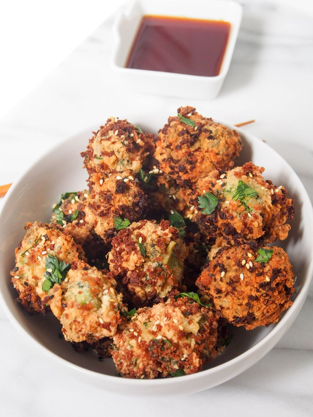 Korean Fusion: Fried Sesame Broccoli Bites with Ponzu Sauce | All Content Created By © Suzanne Spiegoski