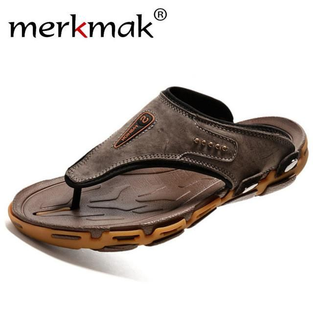 Merkmak Men Slippers Summer Beach Genuine Leather Casual Flip Flops  Breathable Flats Comfortable Outdoor Loafer Shoes