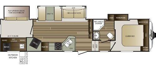 KEYSTONE COUGAR 330RBK REAR BUNK HOUSE FIFTH WHEEL floorplan
