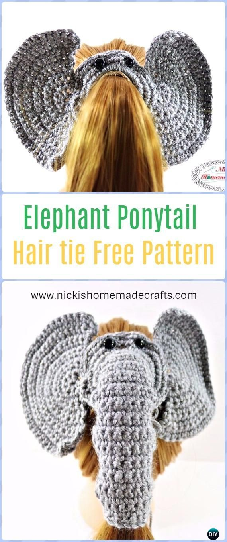 Crochet Elephant Ponytail Hair tie Free Pattern - Crochet Elephant ...