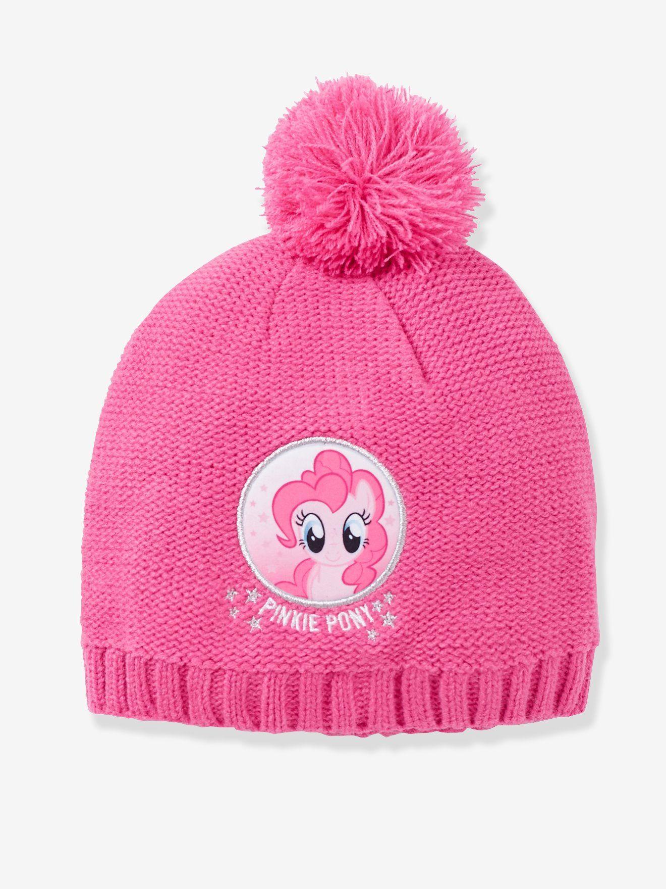 Bonnet fille My little pony® à pompon parme , Pinkie Pie leur petit poney  préféré