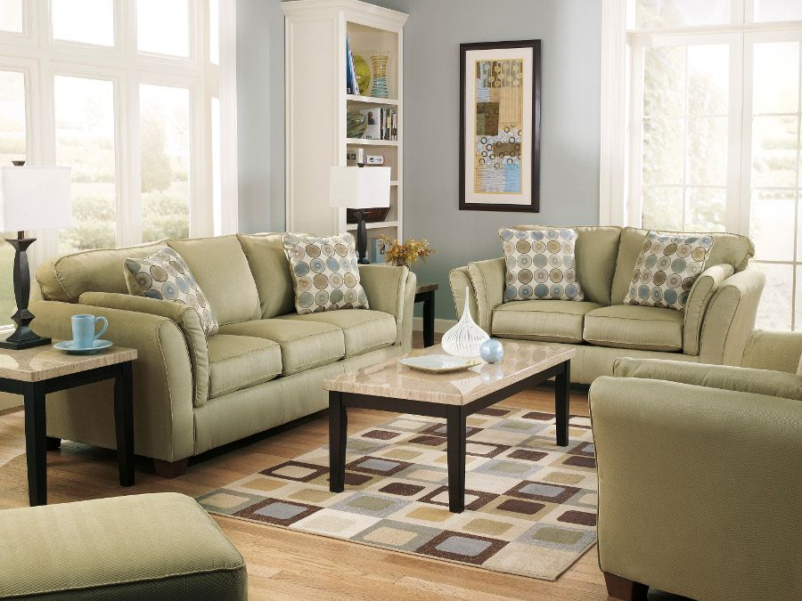 Living Room Furniture Jennifer Convertibles sloan citrus sofa & loveseat #sofa #loveseat #livingroom #rana
