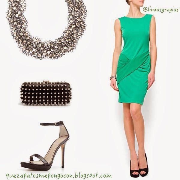Que zapatos me pongo con un vestido verde