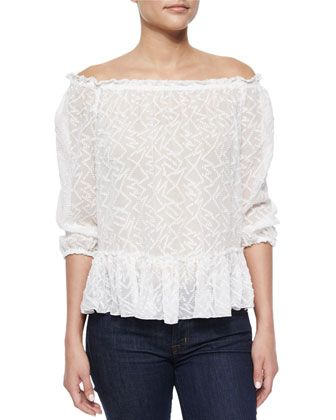 Zigzag+Off-the-Shoulder+Top+by+Rebecca+Taylor+at+Bergdorf+Goodman.