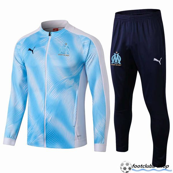 Ensemble Survetement de Foot Veste Marseille OM BleuBlanc