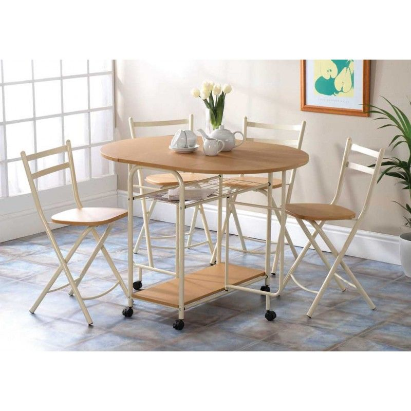 Folding Dining Set Beech Finish With Cream Frames