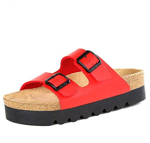 Chicside Womens Daily Fashion Flange Sandals Red 37 EU *** You can get more details by clicking on the image.