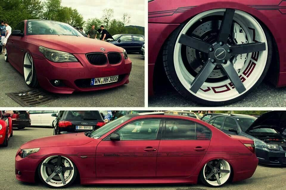 Bmw E60 5 Series Red Slammed On Vossen Wheels Bmw Custom Bmw