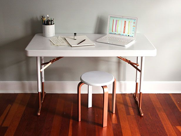 Upcycle A Plastic Folding Table Into A Chic Desk Chic Desk Minimalist Desk Folding Table
