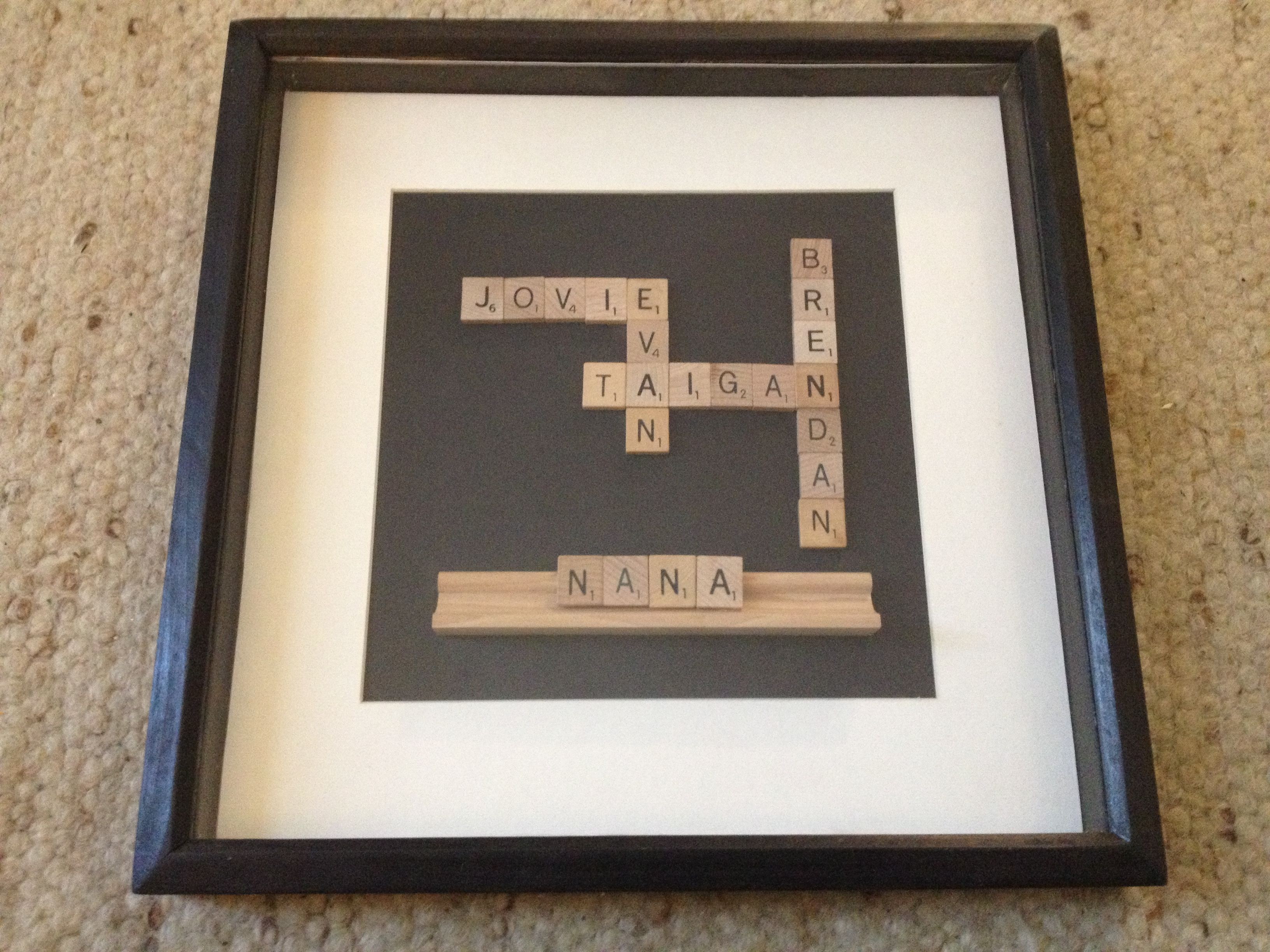 Scrabble Shadow Box - Mother\'s Day gift for Nana with grandchildren ...