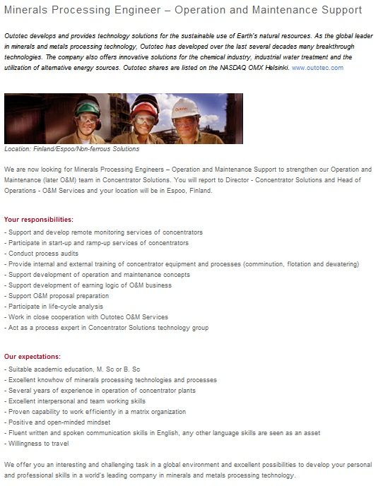 Outotec is looking for a Minerals Processing Engineer – Operation ...