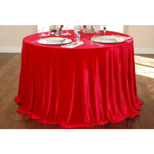 Ships Immediately 96 Round Red Velvet Tablecloth Wedding Cake... ($70) ❤
