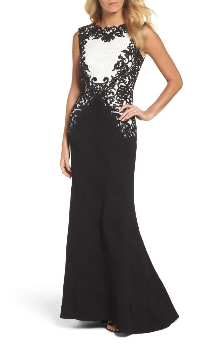 b80b33f2 Tadashi Shoji Sequin Embroidered Textured Crepe Gown in black and white  (petite, regular) | Sequin-sparked embroidery wraps up the glamorous  elegance of a ...