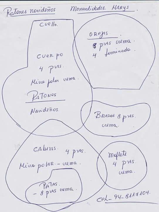 Moldes ratones navideños 1 | Pañolencia | Pinterest | Christmas ...