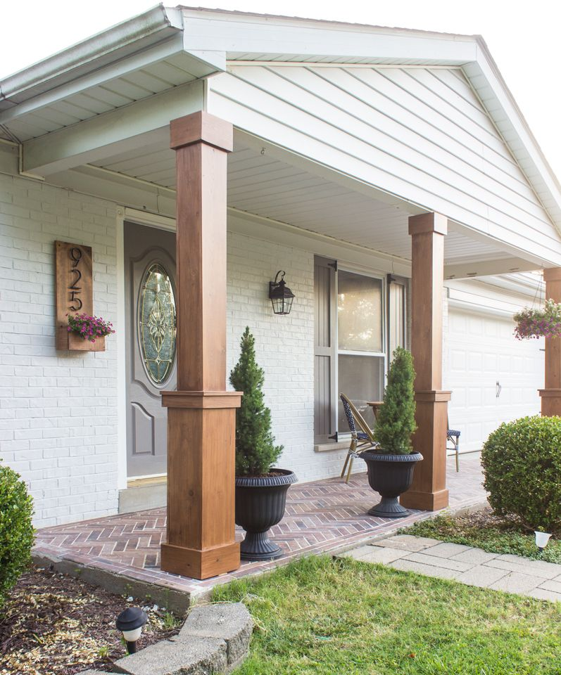 Diy Craftsman Style Porch Columns Shades Of Blue Interiors Craftsman Style Porch Craftsman Porch Front Porch Makeover