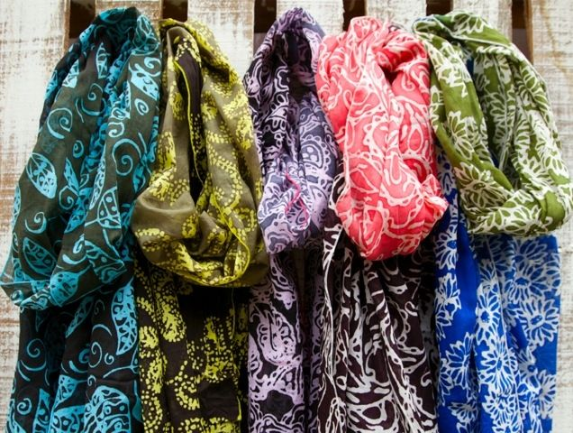 Beautiful hand-dyed, batik fabric scarves made by women living in poverty in Malaysia. Your purchase of this scarf provides them with a fair and living wage. Fair Trade. $30.
