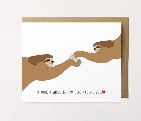 Cute sloth card  Pun card  Best friend card  Thank you friend  Card for her  Card for him Thank you card funny