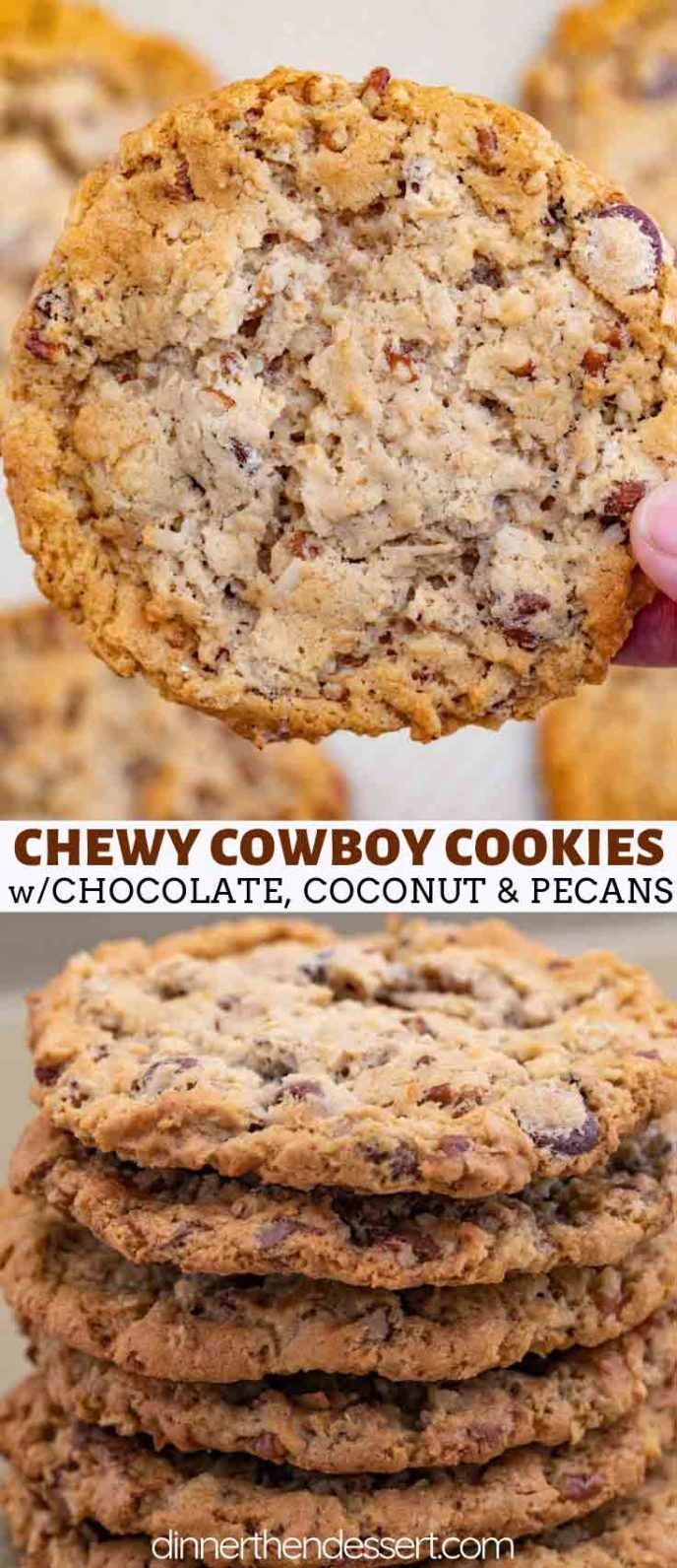 Cowboy Cookies are chewy oatmeal brown sugar cookies with chocolate chips, coconut and pecans that are done in less than 30 minutes! #cookies #cowboycookies #chocolate #holidays #christmas #baking #dessert #dinnerthendessert