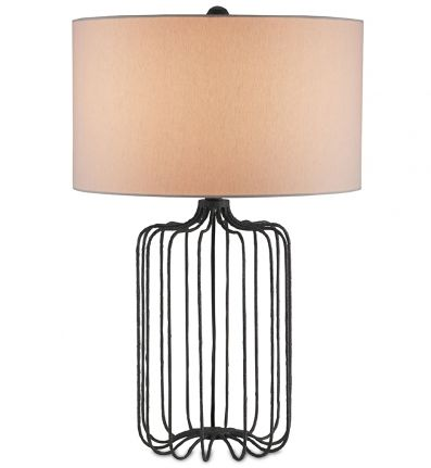 Currey Company 6786 Furlong Table Lamp With Mole Black Finish Table Lamp Cage Table Lamp Metal Table Lamps