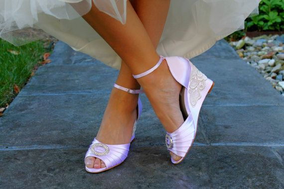 Lace wedding shoes wedge sandals embellished with ivory Venice lace and large crystal brooch on Etsy, £70.36