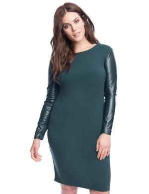 Plus Size Faux Leather Pieces To Add To Your Wardrobe: Eloquii Faux Leather Sleeve Dress