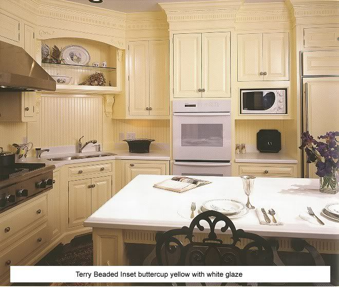 Off White Glazed Kitchen Cabinets: Butter Cup Cabinets With White Glaze, Beadboard Backplash