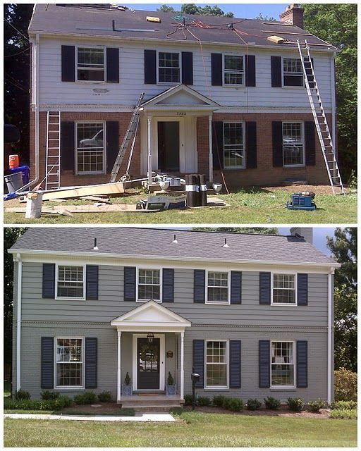Image result for paint brick and siding all one color for Painted brick houses with siding