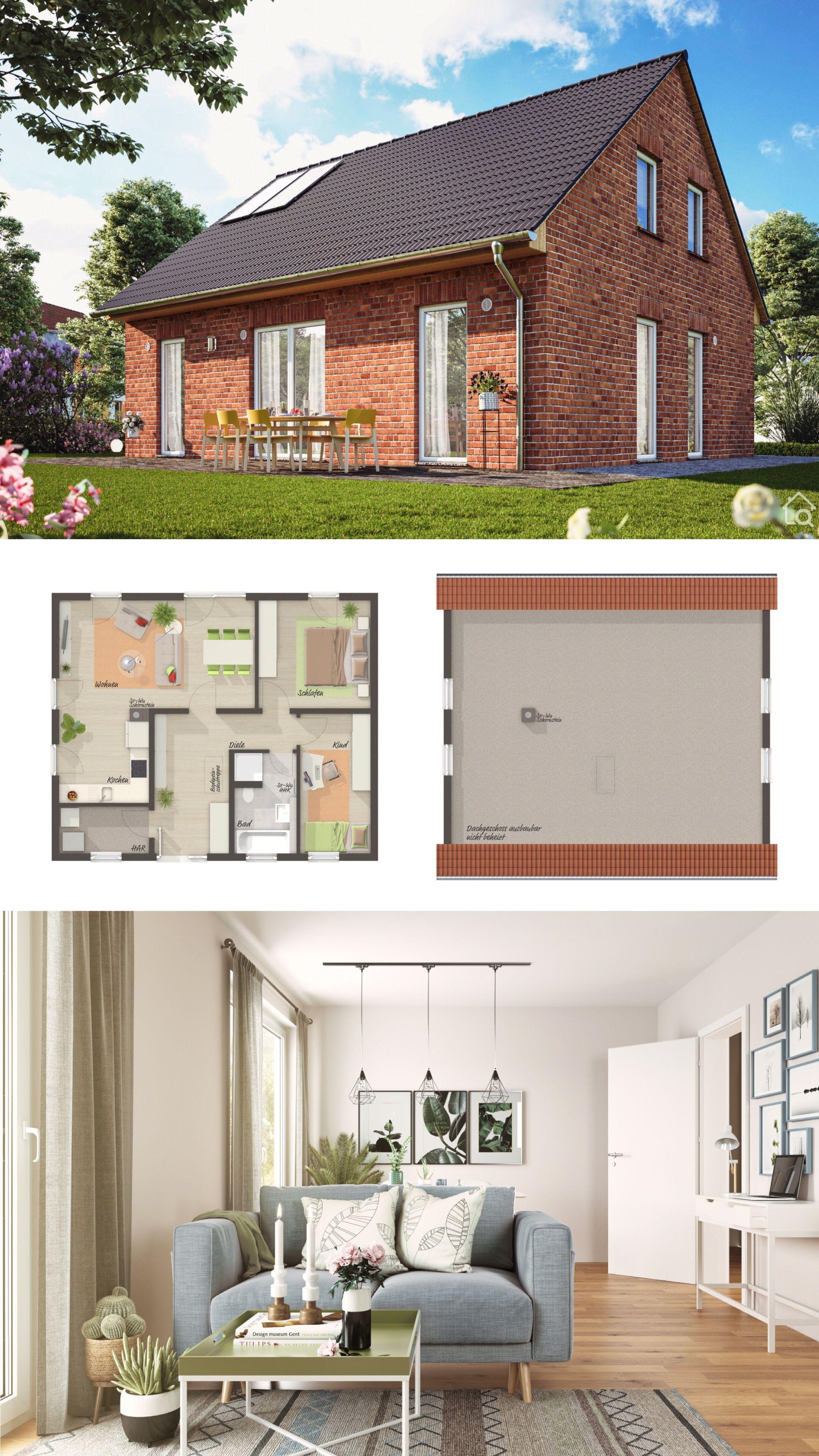 Modernes Haus Mit Satteldach Klinker Fassade 3 Zimmer Grundriss