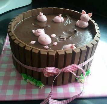 Chanchitos Bañandose En Chocolate Ummmm Pig Birthday Cakes Pigs In Mud Cake Piggy Cake