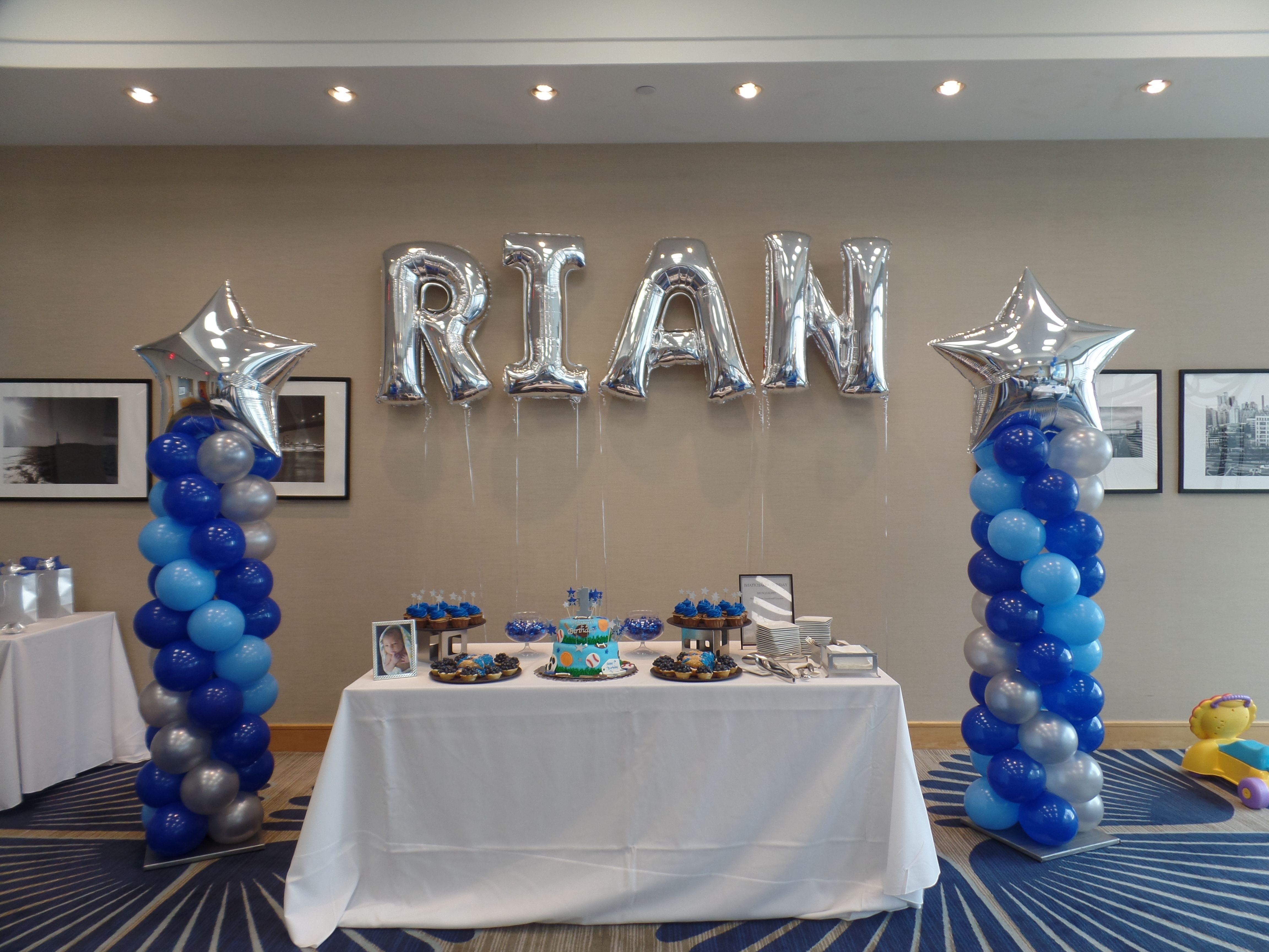 76 First Birthday Party Silver Star Balloon Columns Silver Party Decorations Blue Birthday Parties Balloon Decorations Party