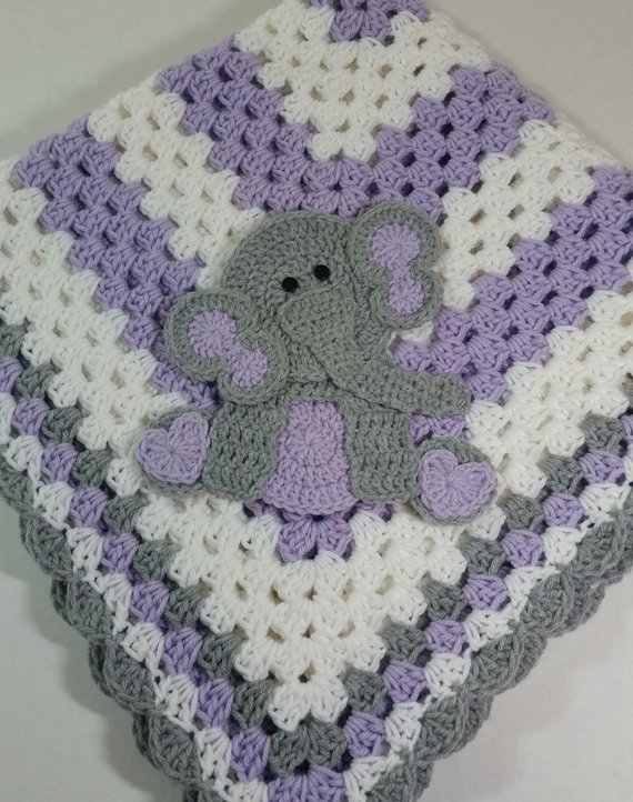 Sitting Elephant Purple and White Baby Blanket / Crochet Baby Blanket / Baby Shower Gift For Girl / Elephant Theme Gift / Newborn Blanket #elephantitems