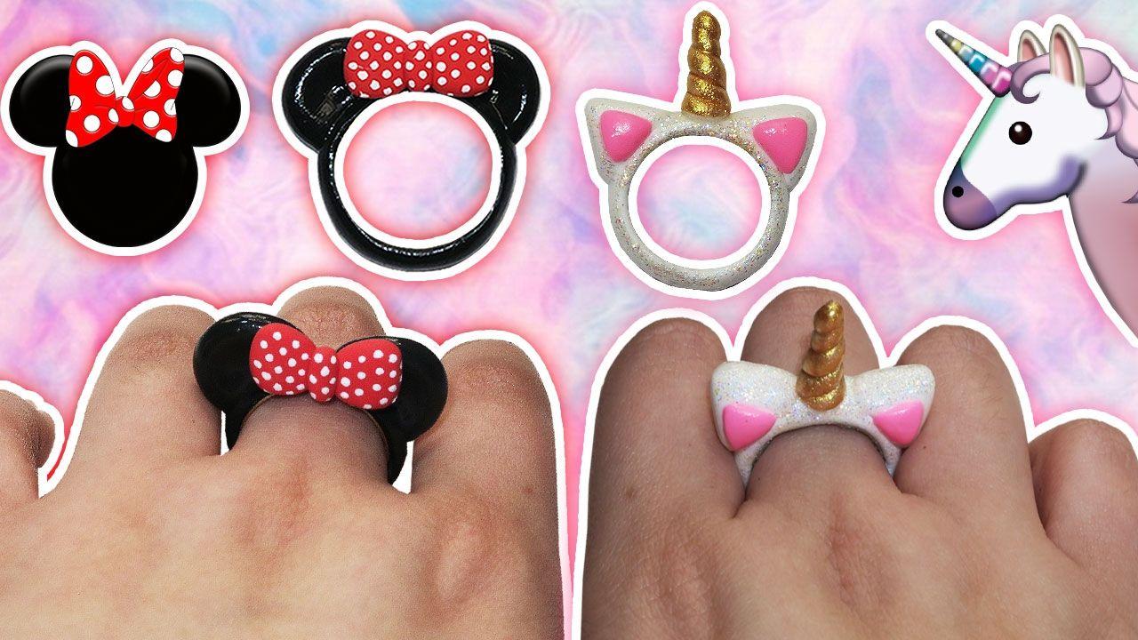 ♥ Tutorial: Anillos DIY de Mickey/Minnie Mouse y Unicornio CUTE ...