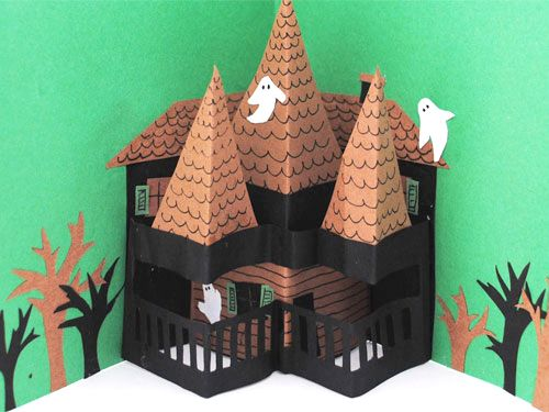 pop up haunted house halloween card from chicago house